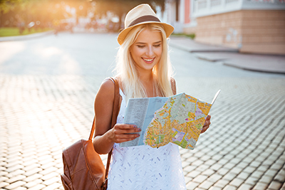 Happy Tourist with Map