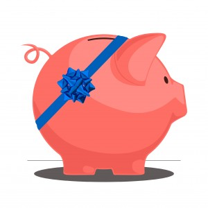 Piggy bank with a bow