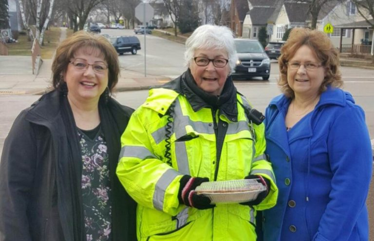 Horicon Bank employees bring pie to crossing guard