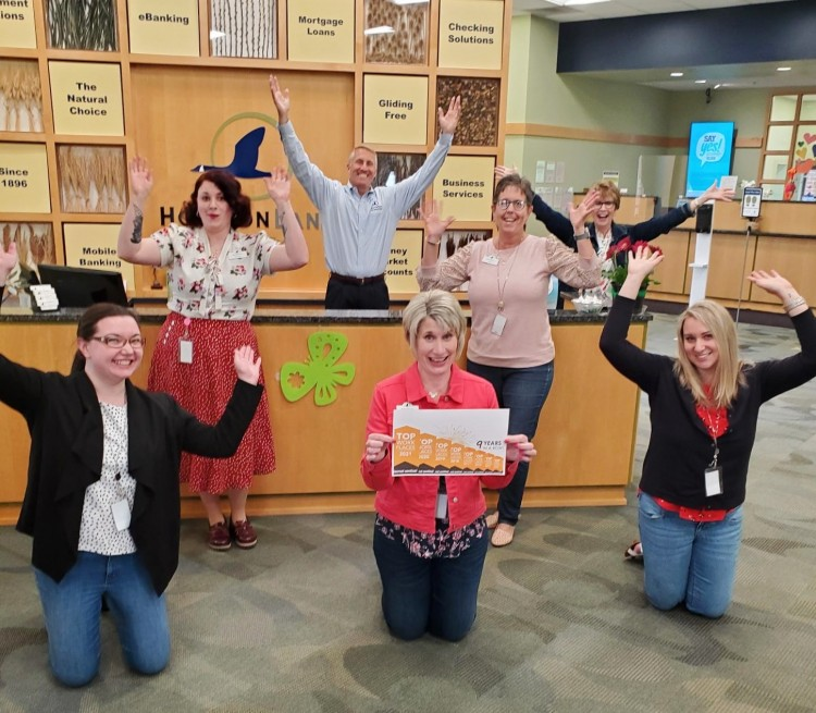 Horicon Bank team celebrating top workplace award