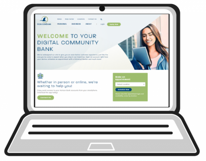 laptop computer with new website displayed